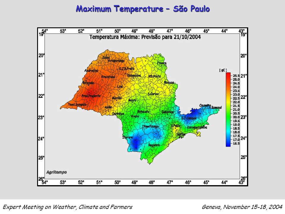Expert Meeting on Weather, Climate and Farmers Geneva, November 15-18, 2004 Maximum Temperature – São Paulo