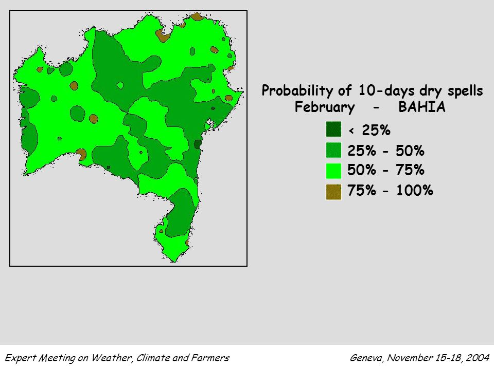 Expert Meeting on Weather, Climate and Farmers Geneva, November 15-18, 2004 < 25% 25% - 50% 50% - 75% 75% - 100% Probability of 10-days dry spells February - BAHIA