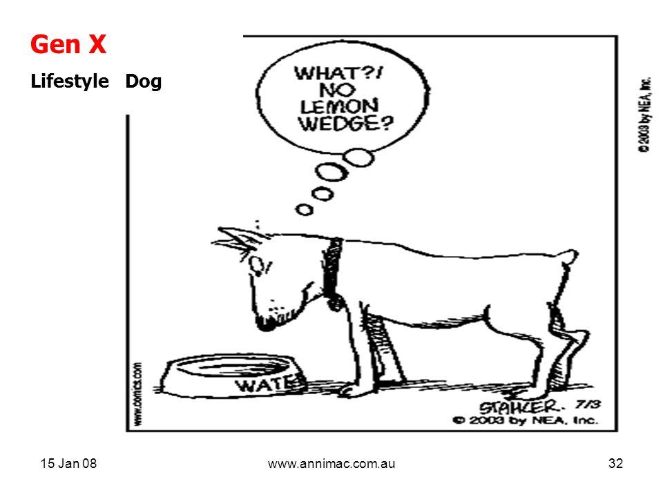 15 Jan 08www.annimac.com.au32 Gen X Lifestyle Dog