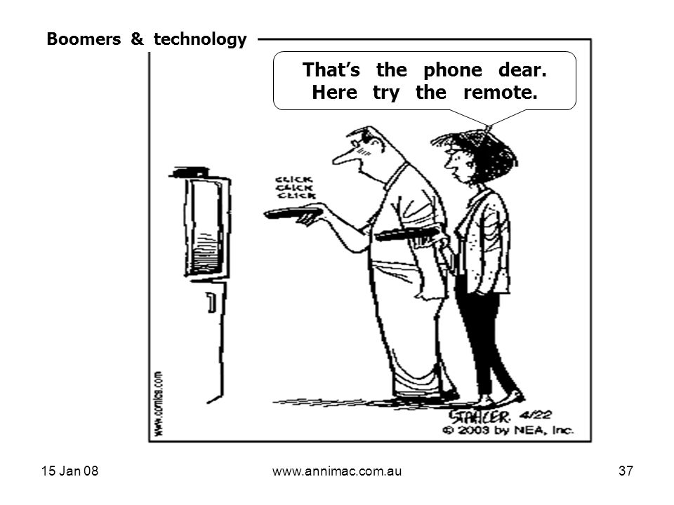 15 Jan 08www.annimac.com.au37 Boomers & technology That's the phone, dear, Here, try the remote That's the phone dear.