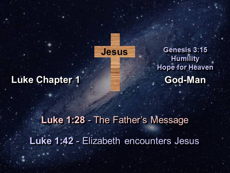 God-ManGod-Man Genesis 3:15 Humility Hope for Heaven Genesis 3:15 Humility Hope for Heaven Luke Chapter 1 Jesus Luke 1:42 - Elizabeth encounters Jesus Luke 1:28 - The Father's Message