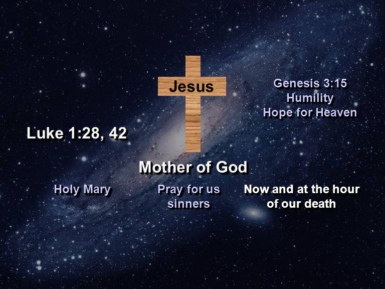 Jesus Mother of God Holy Mary Pray for us sinners Now and at the hour of our death Now and at the hour of our death Luke 1:28, 42 Genesis 3:15 Humility Hope for Heaven Genesis 3:15 Humility Hope for Heaven