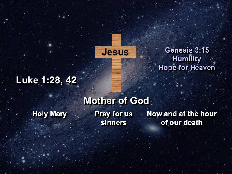 Jesus Mother of God Genesis 3:15 Humility Hope for Heaven Genesis 3:15 Humility Hope for Heaven Holy Mary Pray for us sinners Now and at the hour of our death Now and at the hour of our death Luke 1:28, 42
