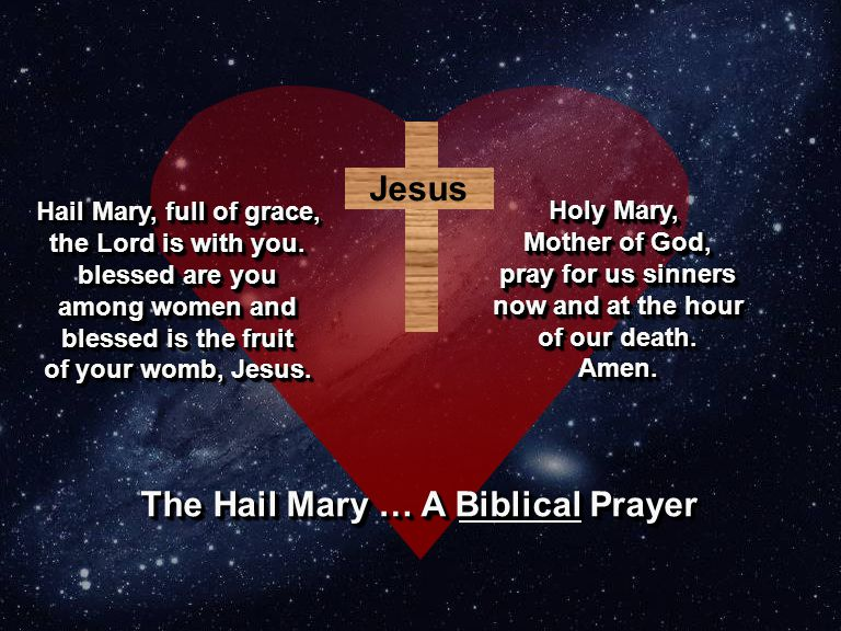 Jesus Hail Mary, full of grace, the Lord is with you. blessed are you among women and blessed is the fruit of your womb, Jesus. Hail Mary, full of gra