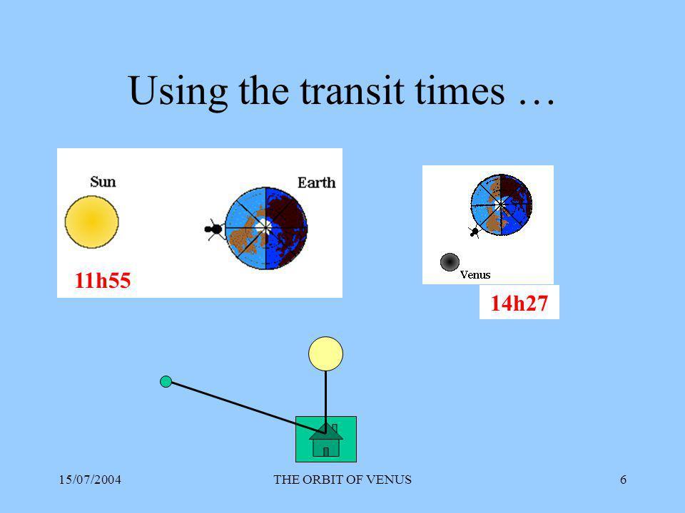 15/07/2004THE ORBIT OF VENUS17 Example of results SUN - VENUSEARTH - VENUS 1 83 mm130 mm 271 mm 472 mm71 mm 5 123 mm Mean 74 mm Distance Sun – Earth = 100 mm