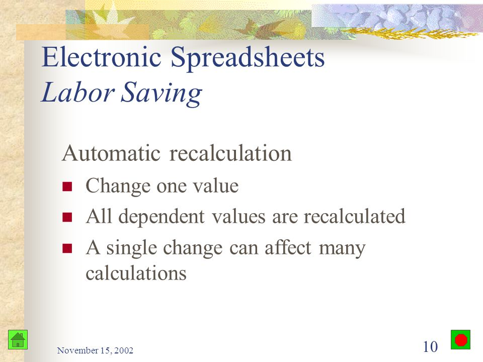 November 15, 2002 9 Electronic Spreadsheets VisiCalc First electronic spreadsheet program 1979 Apple II microcomputer Computer becomes an indispensable tool for financial analysis