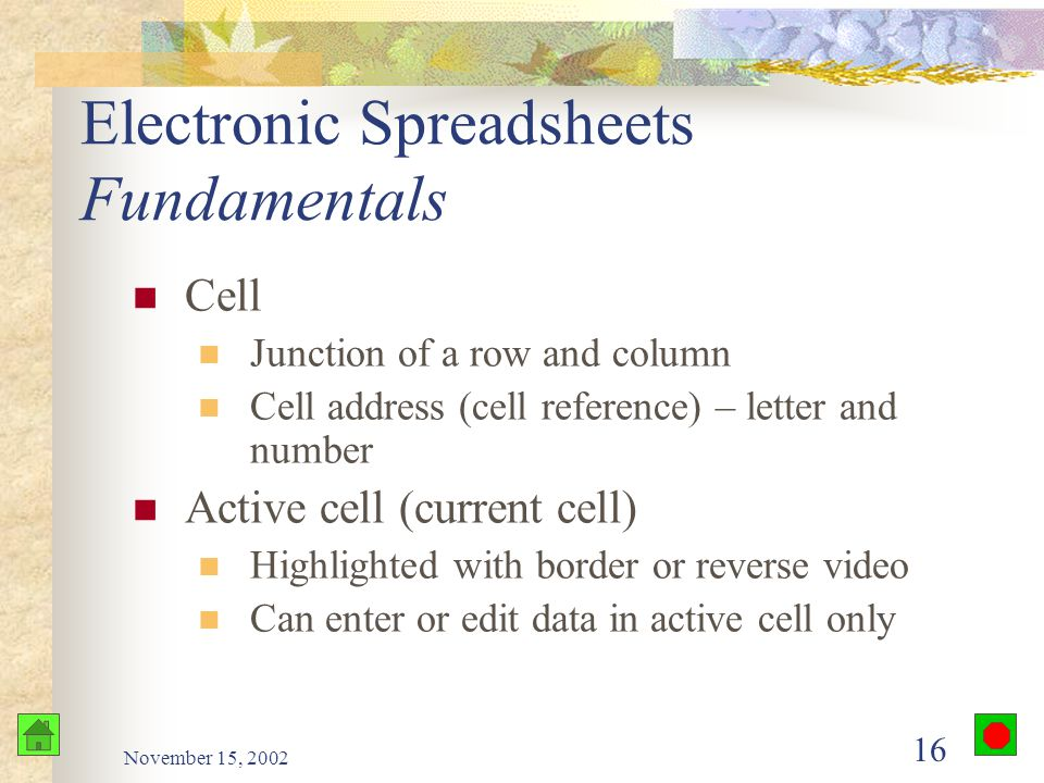 November 15, 2002 15 Electronic Spreadsheets Fundamentals Screen Window into the spreadsheet Scroll using mouse or cursor-movement keys Rows and columns Row – number Column – letters