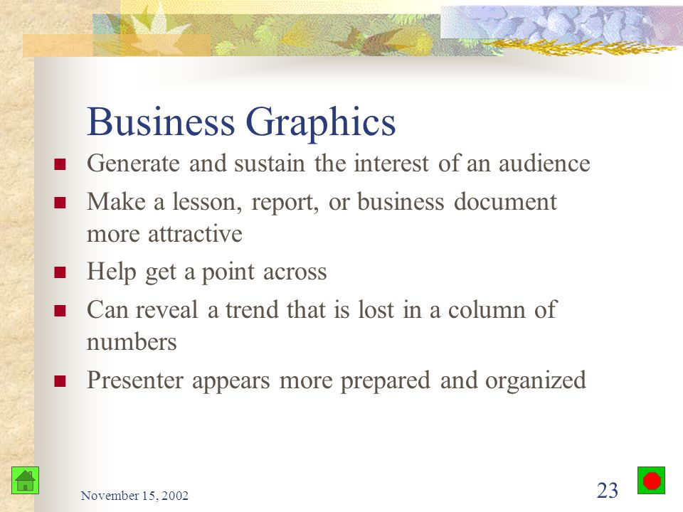 November 15, 2002 22 Formatting Features Decoration Borders Color Clip art Business graphics Shows words and numbers in visual form Quickly and easily understood