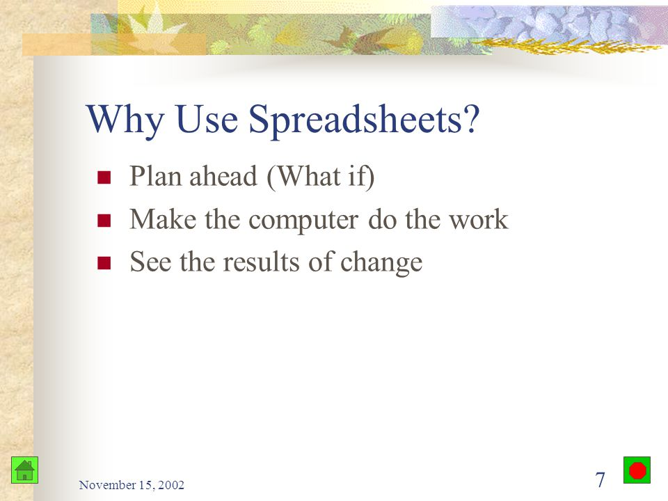 November 15, 2002 6 Objectives Describe the advantages of spreadsheets List several applications for spreadsheets Explain the underlying principles of