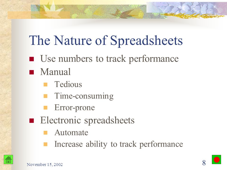 November 15, 2002 7 Why Use Spreadsheets? Plan ahead (What if) Make the computer do the work See the results of change