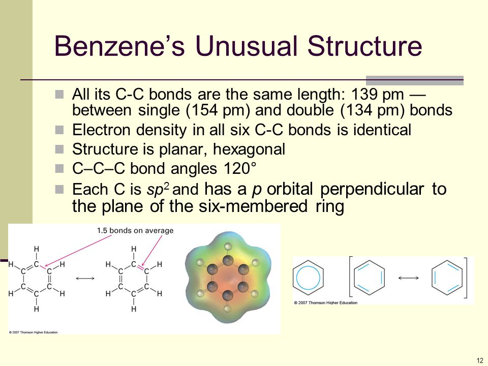 12 Benzene's Unusual Structure All its C-C bonds are the same length: 139 pm — between single (154 pm) and double (134 pm) bonds Electron density in a
