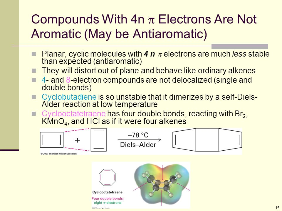 15 Compounds With 4n  Electrons Are Not Aromatic (May be Antiaromatic) Planar, cyclic molecules with 4 n  electrons are much less stable than expect