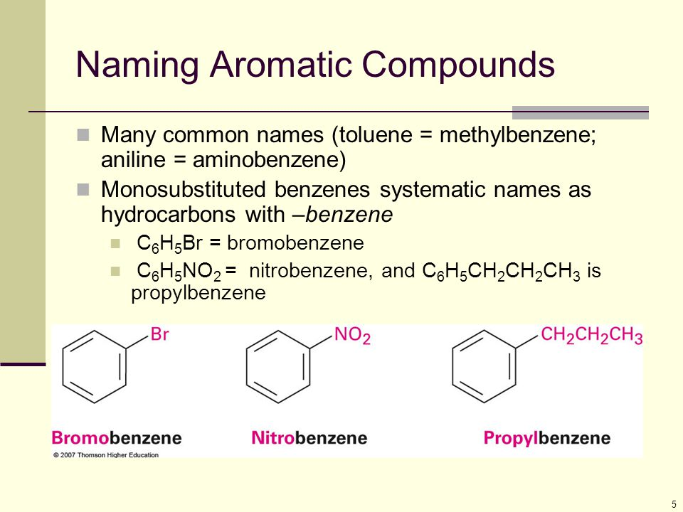 5 Naming Aromatic Compounds Many common names (toluene = methylbenzene; aniline = aminobenzene) Monosubstituted benzenes systematic names as hydrocarb