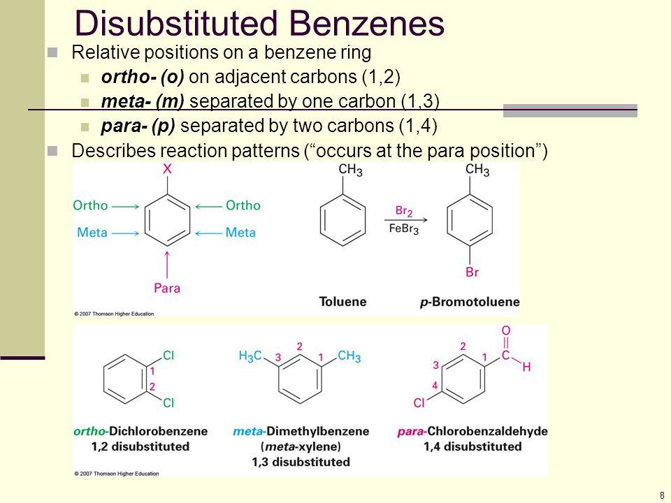 8 Disubstituted Benzenes Relative positions on a benzene ring ortho- (o) on adjacent carbons (1,2) meta- (m) separated by one carbon (1,3) para- (p) s