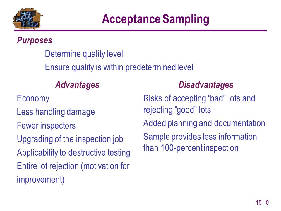 15 - 9 Acceptance Sampling Advantages Economy Less handling damage Fewer inspectors Upgrading of the inspection job Applicability to destructive testing Entire lot rejection (motivation for improvement) Purposes Determine quality level Ensure quality is within predetermined level Disadvantages Risks of accepting bad lots and rejecting good lots Added planning and documentation Sample provides less information than 100-percent inspection