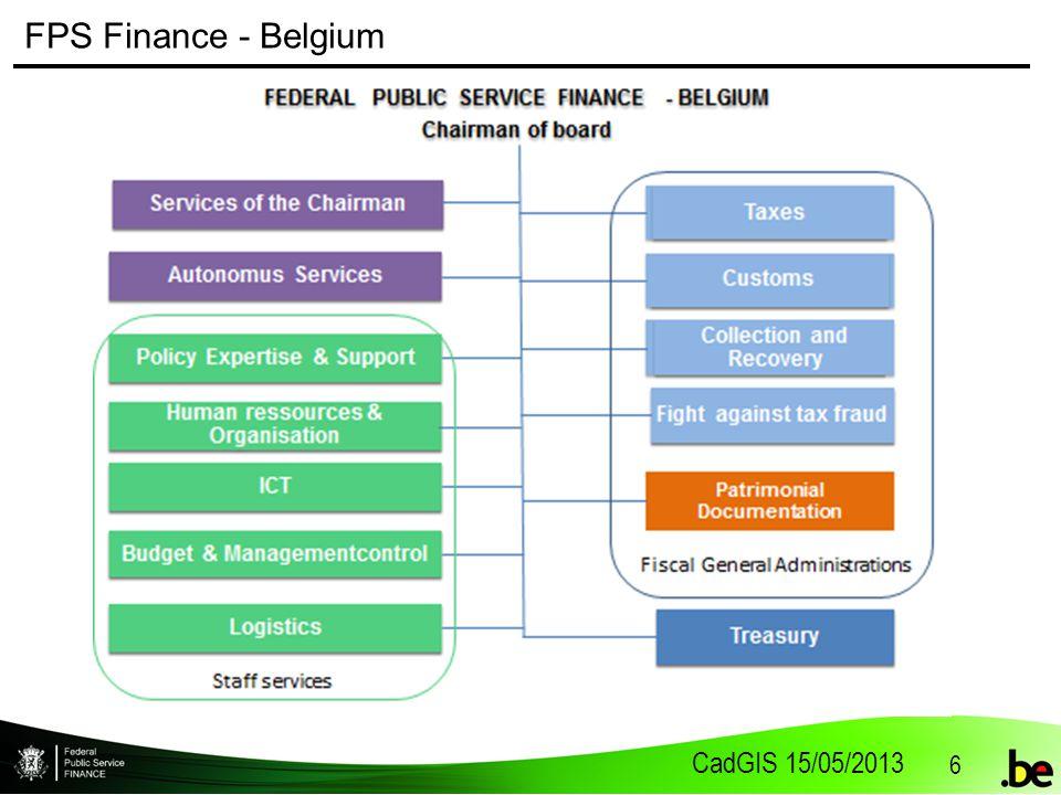 CadGIS 15/05/2013 6 FPS Finance - Belgium