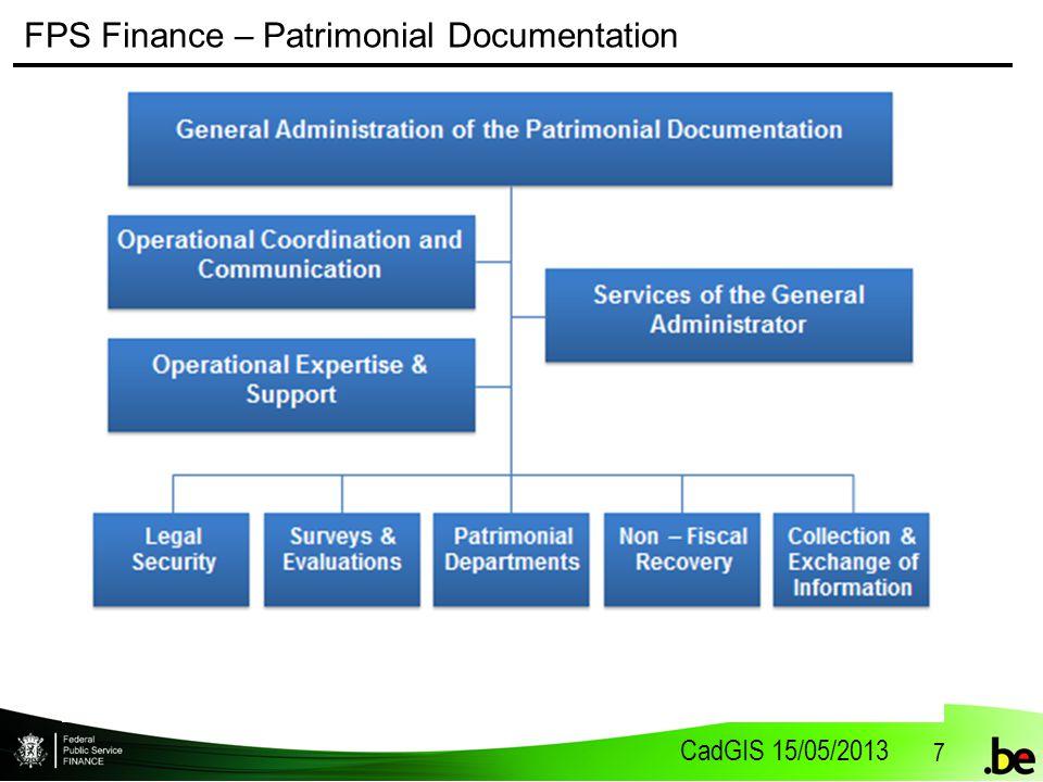 CadGIS 15/05/2013 7 FPS Finance – Patrimonial Documentation