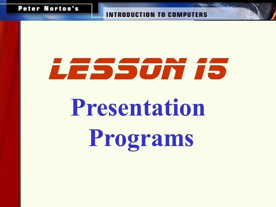 Presentation Programs lesson 15