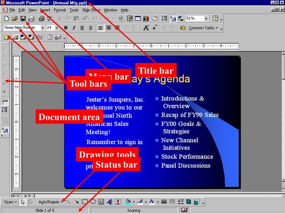 Title bar Menu bar Tool bars Document area Drawing tools Status bar
