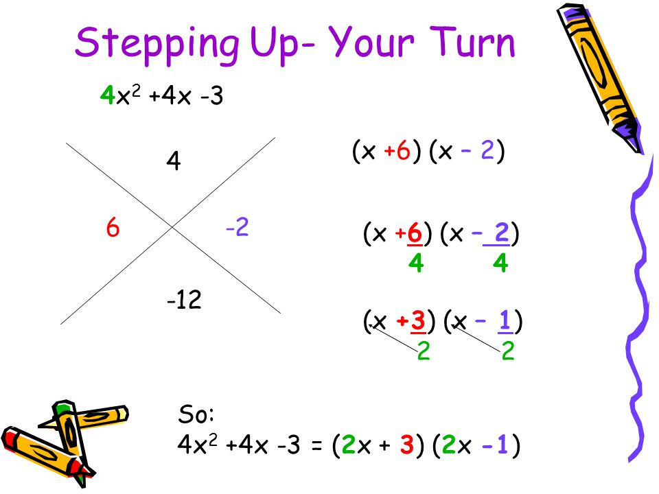 So: 4x 2 +4x -3 = (2x + 3) (2x -1) 4x 2 +4x -3 4 -12 6 -2 (x +6) (x – 2) 4 (x +3) (x – 1) 2 Stepping Up- Your Turn