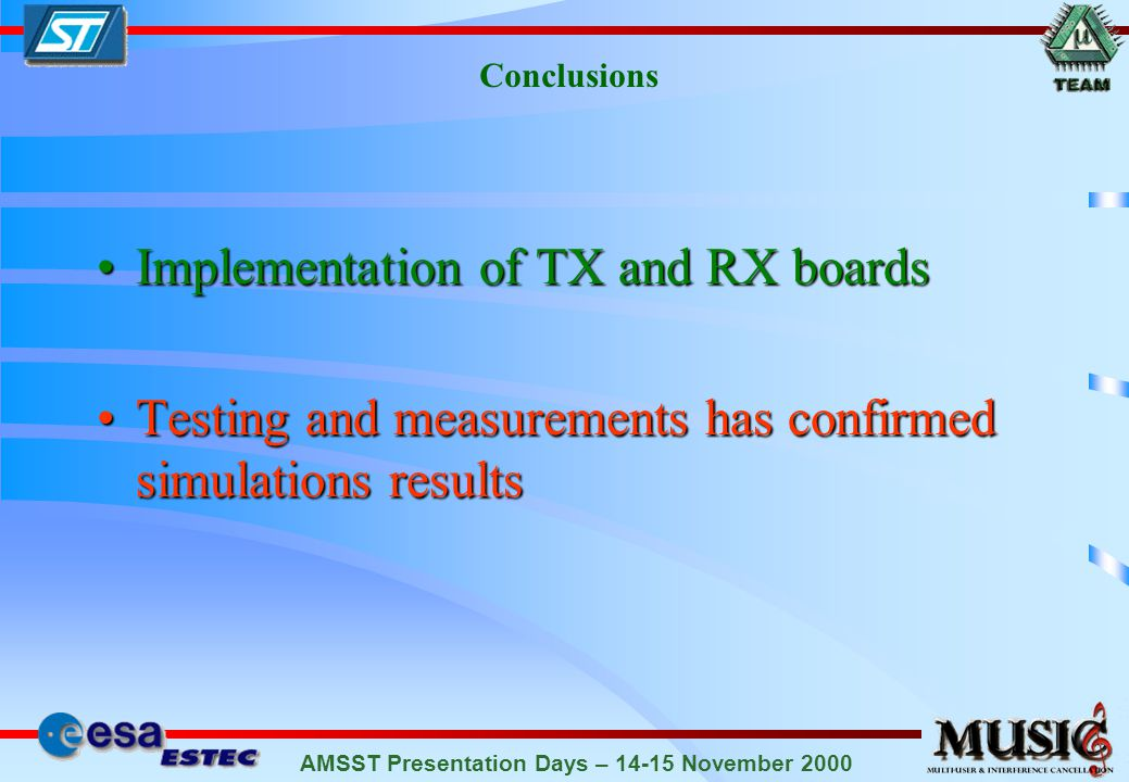 AMSST Presentation Days – 14-15 November 2000 Conclusions Implementation of TX and RX boardsImplementation of TX and RX boards Testing and measurements has confirmed simulations resultsTesting and measurements has confirmed simulations results