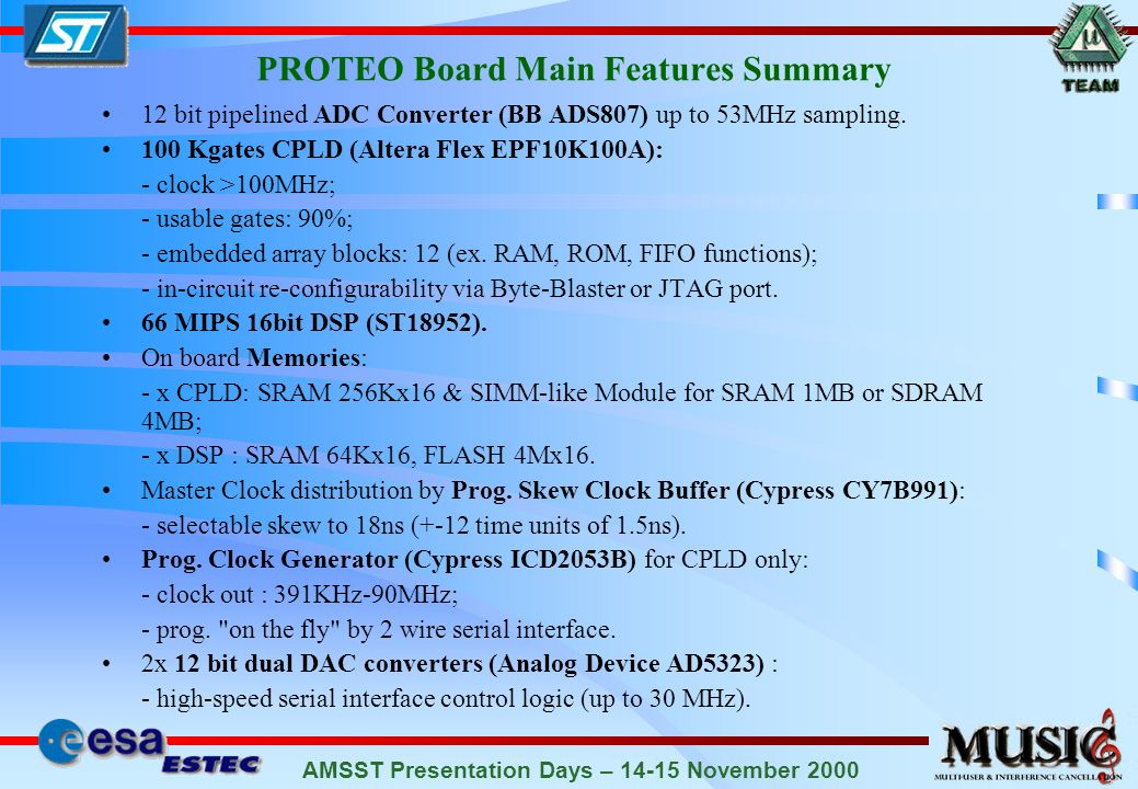 AMSST Presentation Days – 14-15 November 2000 PROTEO Board Main Features Summary 12 bit pipelined ADC Converter (BB ADS807) up to 53MHz sampling.