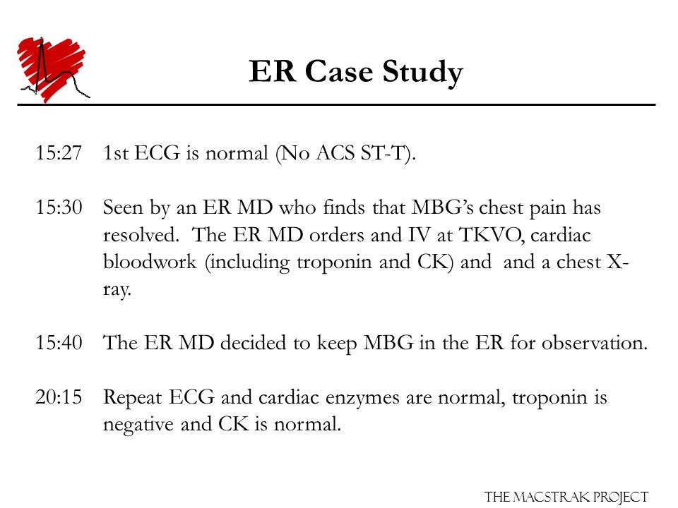 The Macstrak Project ER Case Study 15:271st ECG is normal (No ACS ST-T).