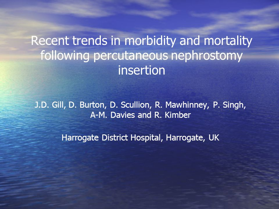 Recent trends in morbidity and mortality following percutaneous nephrostomy insertion J.D.