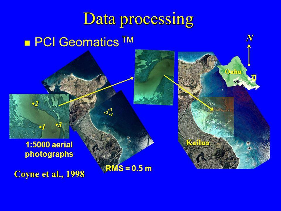 Data processing n PCI Geomatics TM 1 1 2 3 2 3 1:5000 aerial photographs Coyne et al., 1998 RMS = 0.5 m N Oahu Kailua