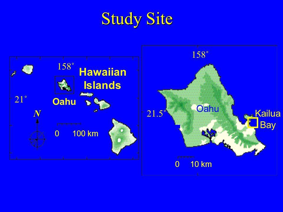 Study Site Oahu Kailua Bay 0 10 km 21.5˚ 158˚ 21˚ 158˚ Hawaiian Islands Oahu N 0 100 km