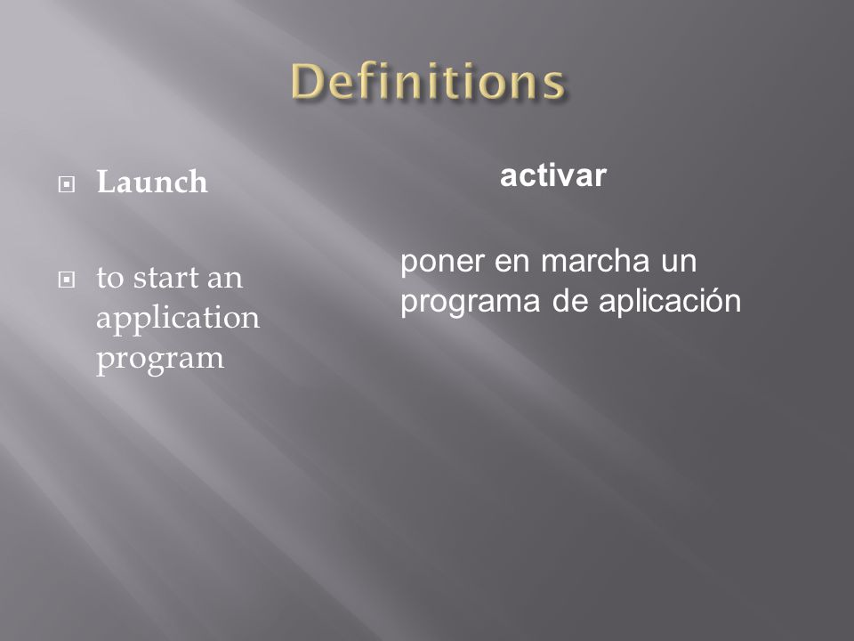  Launch  to start an application program activar poner en marcha un programa de aplicación