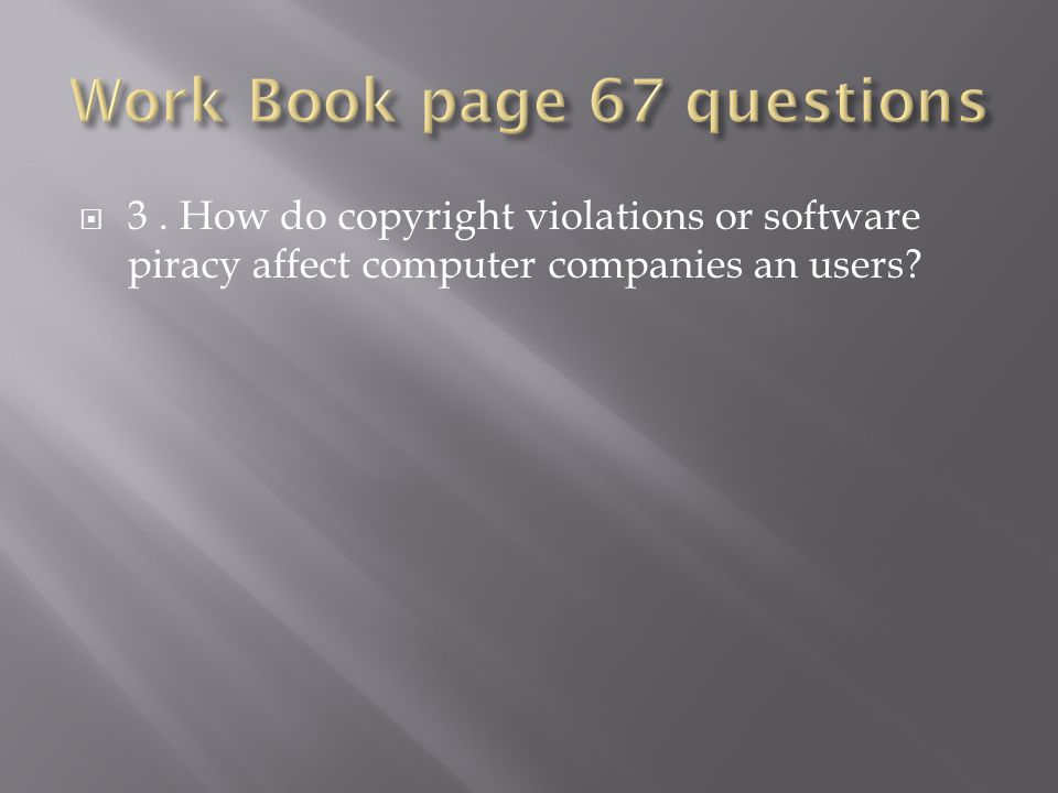  3. How do copyright violations or software piracy affect computer companies an users