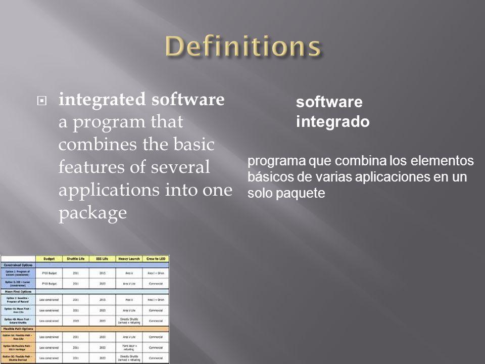  Office suite  a program that combines several programs and all of their features suite de oficina programa que combina varios programas y todos sus recursos