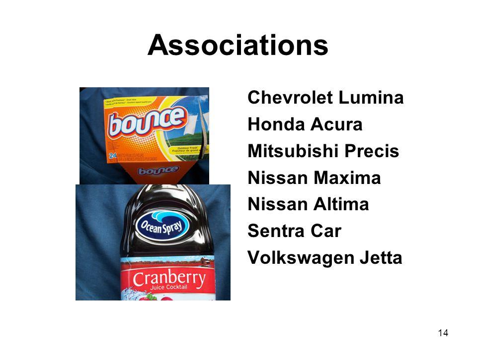 Associations Chevrolet Lumina Honda Acura Mitsubishi Precis Nissan Maxima Nissan Altima Sentra Car Volkswagen Jetta 14