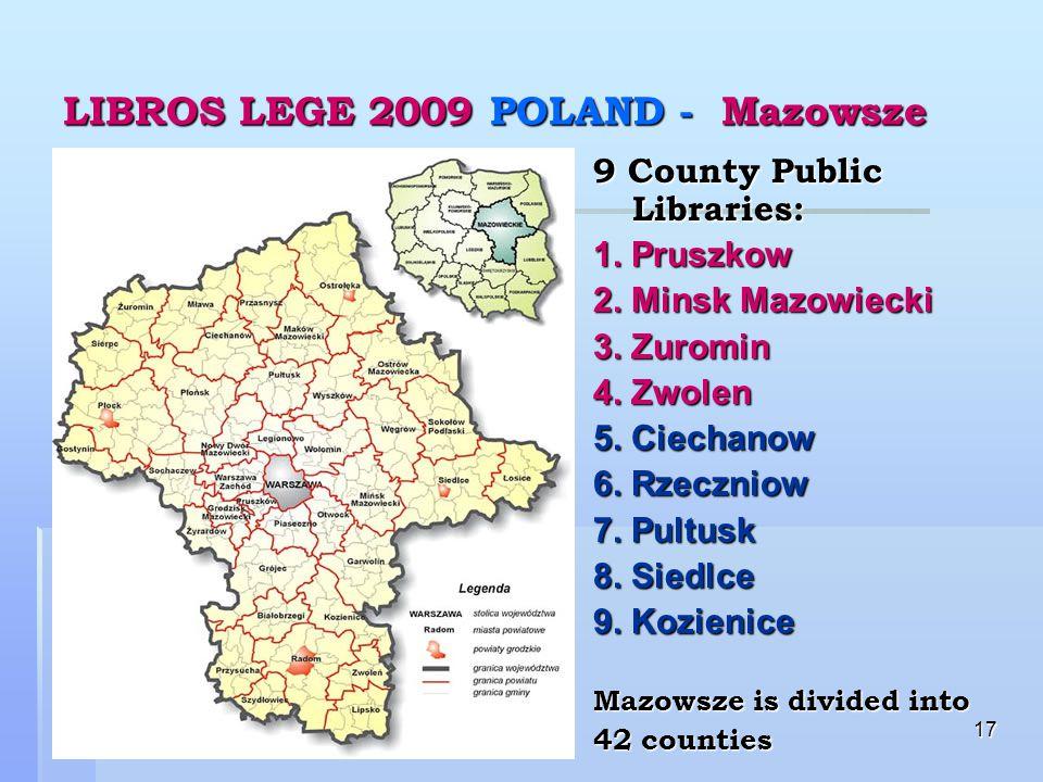17 LIBROS LEGE 2009 POLAND - Mazowsze 9 County Public Libraries: 1.