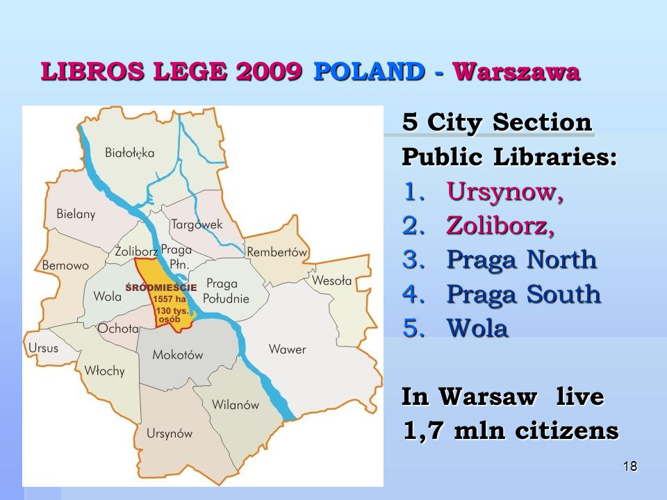 18 LIBROS LEGE 2009 POLAND - Warszawa 5 City Section Public Libraries: 1.Ursynow, 2.Zoliborz, 3.Praga North 4.Praga South 5.Wola In Warsaw live 1,7 mln citizens
