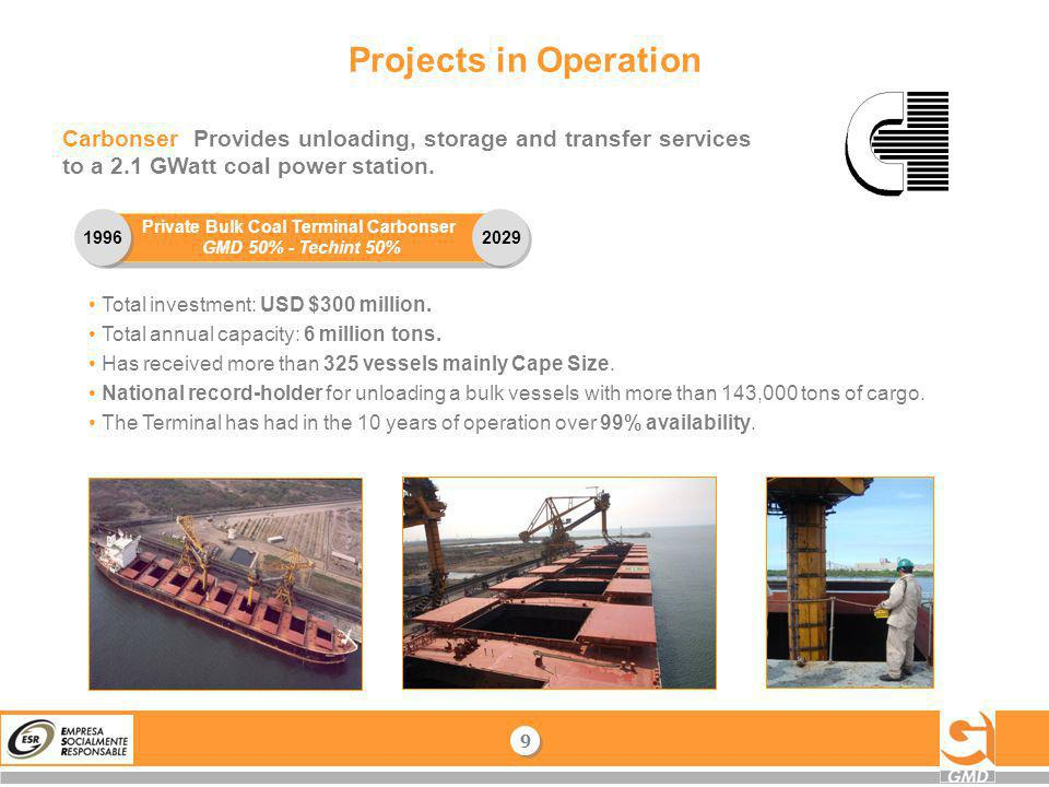 Projects in Operation Carbonser Provides unloading, storage and transfer services to a 2.1 GWatt coal power station. 9 9 Private Bulk Coal Terminal Ca