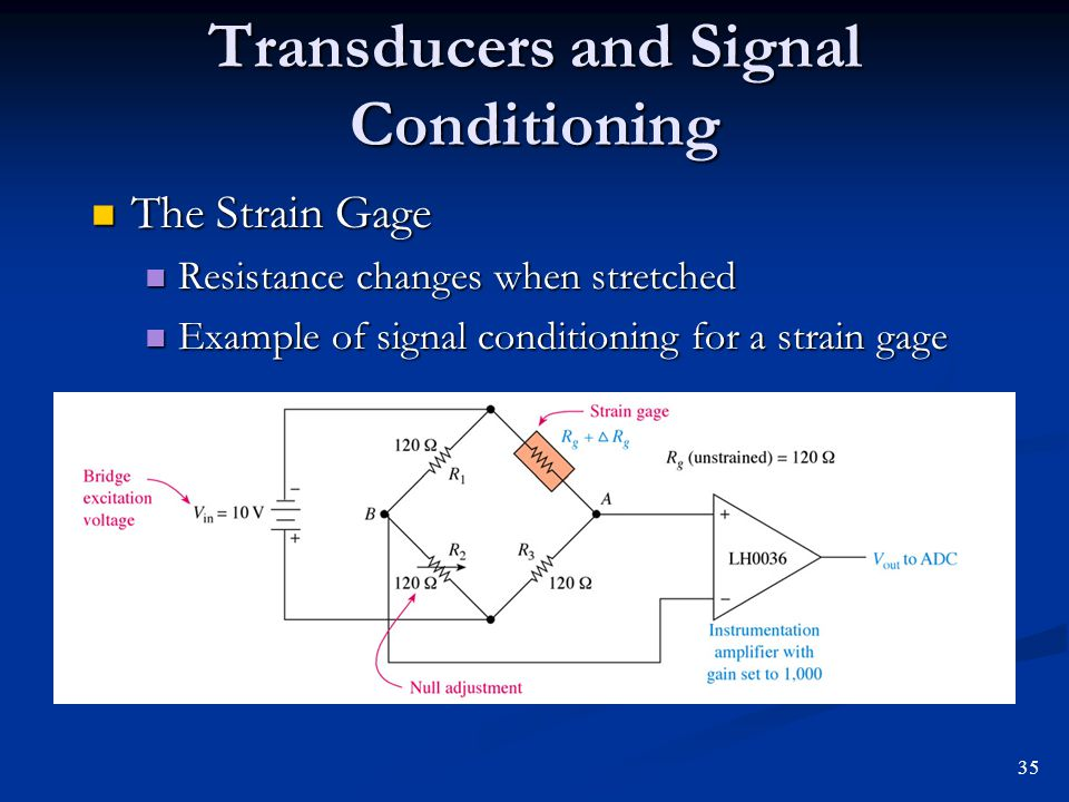 Transducers and Signal Conditioning The Strain Gage The Strain Gage Resistance changes when stretched Resistance changes when stretched Example of sig