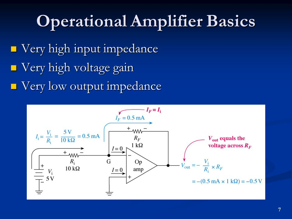 Operational Amplifier Basics Very high input impedance Very high input impedance Very high voltage gain Very high voltage gain Very low output impedan
