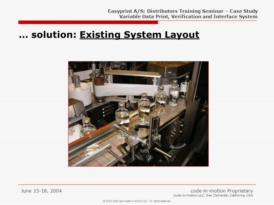 Easyprint A/S: Distributors Training Seminar – Case Study Variable Data Print, Verification and Interface System © 2004 Copyright code-in-motion LLC.
