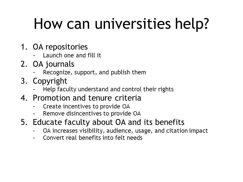 Premise 1: Authors are primary Authors control: 1.Whether to submit their work to an OA journal 2.Whether to deposit their work in an OA repository 3.Whether to transfer copyright