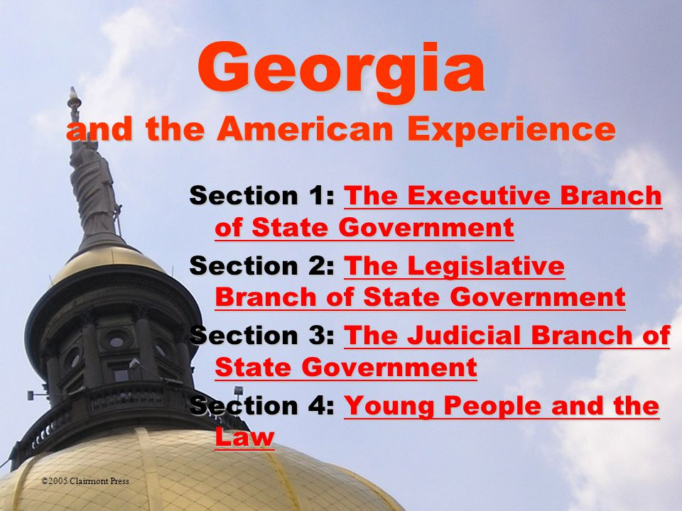 Legislative Branch law-making body in Georgia officially known as Georgia General AssemblyGeorgia General Assembly bicameral (two-houses): House of Representatives and SenateHouse of RepresentativesSenate only House can write spending bills; Senate confirms appointments made by the governor