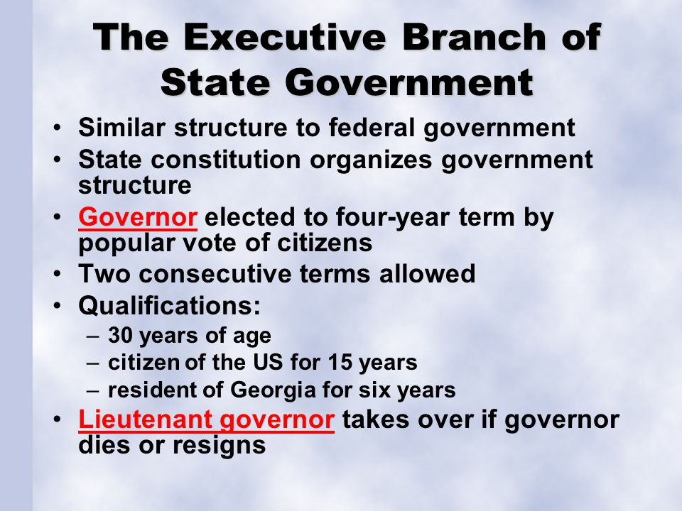 Formal Powers of the Governor Executive: appoints state officials, makes sure laws are enforced Legislative: sends requests and messages to legislature, vetos bills or signs them into law as necessary, call special session of legislature Judicial: pardon convicted criminals, appoint state justices