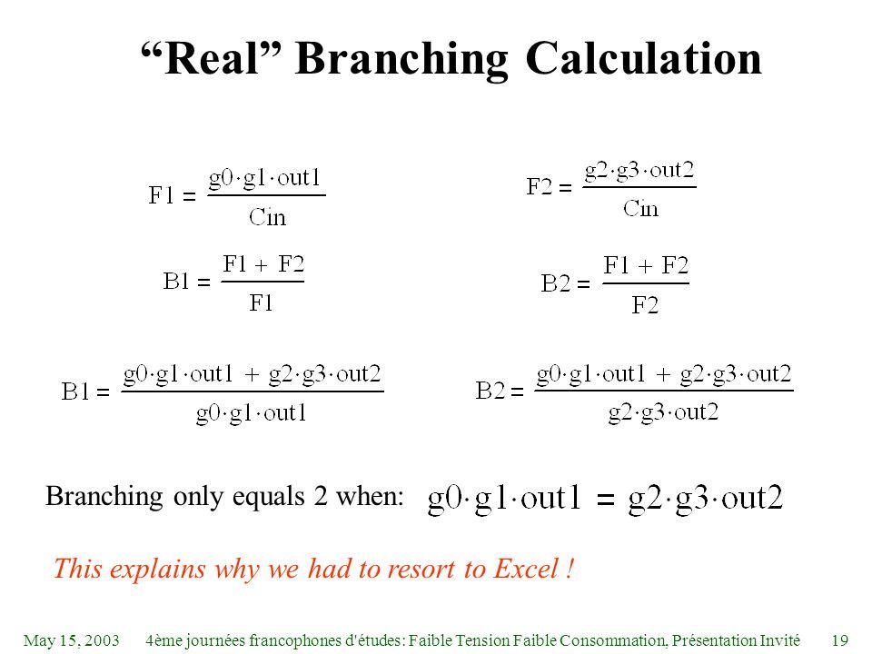 """May 15, 20034ème journées francophones d'études: Faible Tension Faible Consommation, Présentation Invité19 """"Real"""" Branching Calculation Branching only"""
