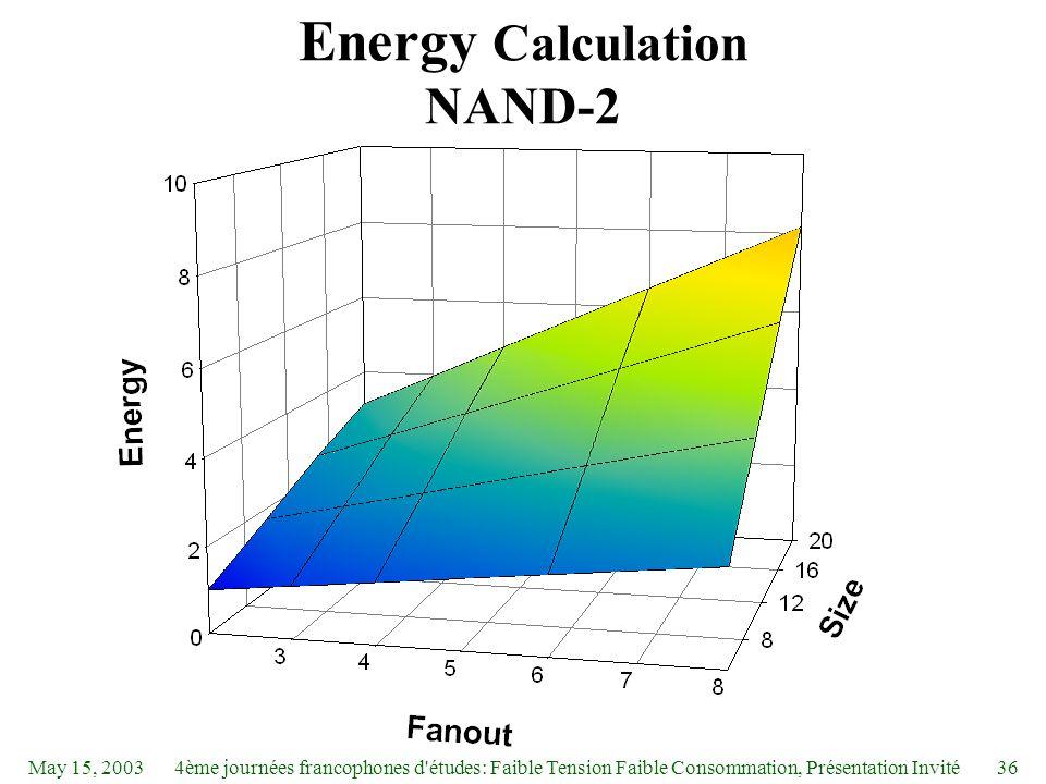 May 15, 20034ème journées francophones d études: Faible Tension Faible Consommation, Présentation Invité36 Energy Calculation NAND-2