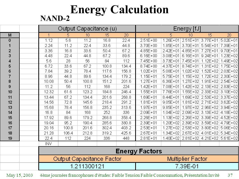 May 15, 20034ème journées francophones d études: Faible Tension Faible Consommation, Présentation Invité37 Energy Calculation NAND-2
