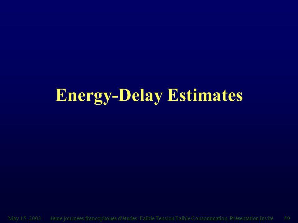 May 15, 20034ème journées francophones d études: Faible Tension Faible Consommation, Présentation Invité59 Energy-Delay Estimates