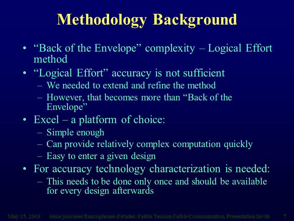 """May 15, 20034ème journées francophones d'études: Faible Tension Faible Consommation, Présentation Invité7 Methodology Background """"Back of the Envelope"""