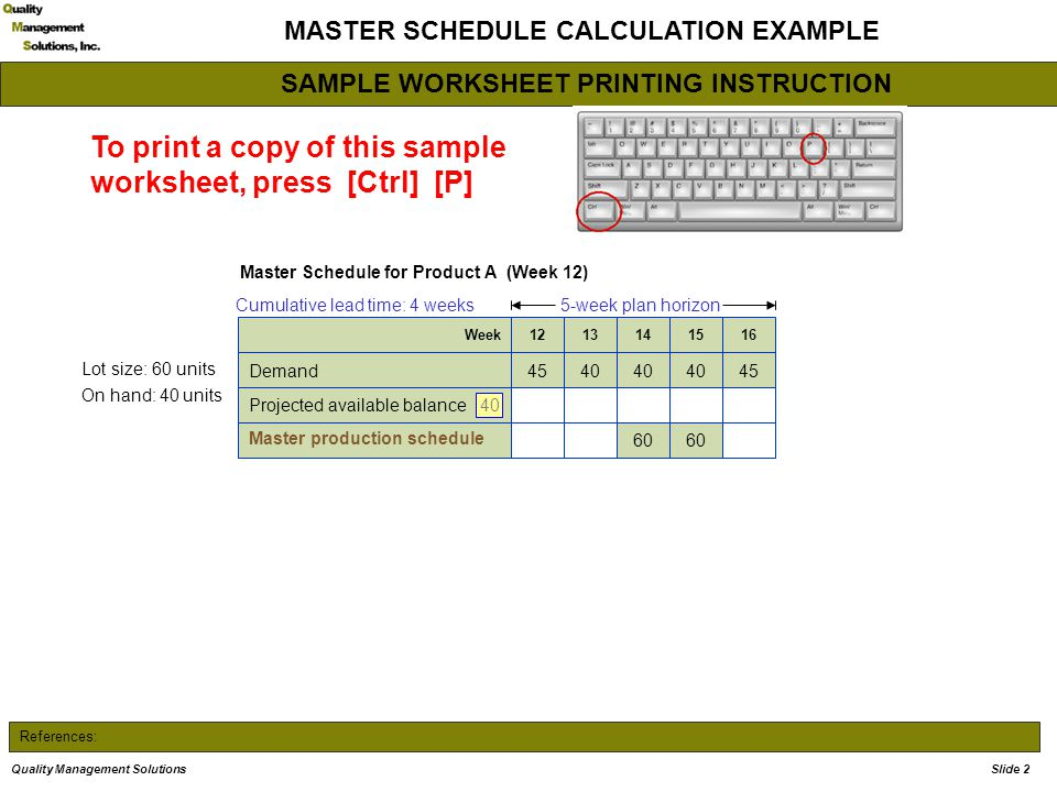 References: MASTER SCHEDULE CALCULATION EXAMPLE Master Schedule for Product A (Week 12) 5-week plan horizon Lot size: 60 units On hand: 40 units Cumul