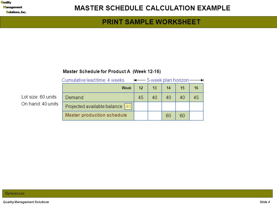 References: MASTER SCHEDULE CALCULATION EXAMPLE Master Schedule for Product A (Week 12-16) 5-week plan horizon Lot size: 60 units On hand: 40 units Cumulative lead time: 4 weeks 4540 45Demand Projected available balance 60 Master production schedule 1615141312Week Note: PAB for weeks 12 – 16 is the same as it was when these weeks were 11 -15 PAB for week 16 is 40 40 Quality Management SolutionsSlide 4 PRINT SAMPLE WORKSHEET